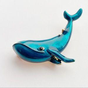 Cute Blue Whale Enamel Gold Tone Brooch NWOT